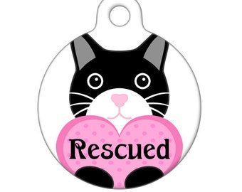 Pet ID Tag - Rescued Kitty Black with Heart Pet Tag, Cat Tag, Luggage Tag