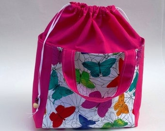 Knitting Crochet WIP Project Bag, Medium Lunch Bag Drawstring, Multi Color Butterfly Print