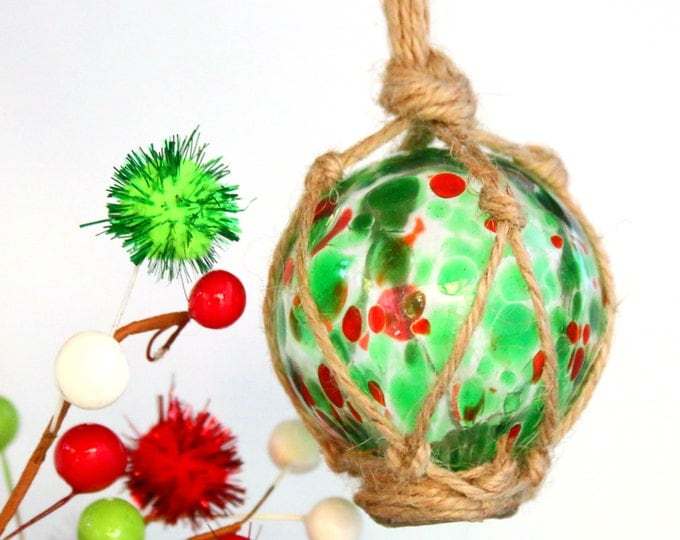 Colorful Easter Egg window decoration, hand blown glass ball, garden orb sphere.