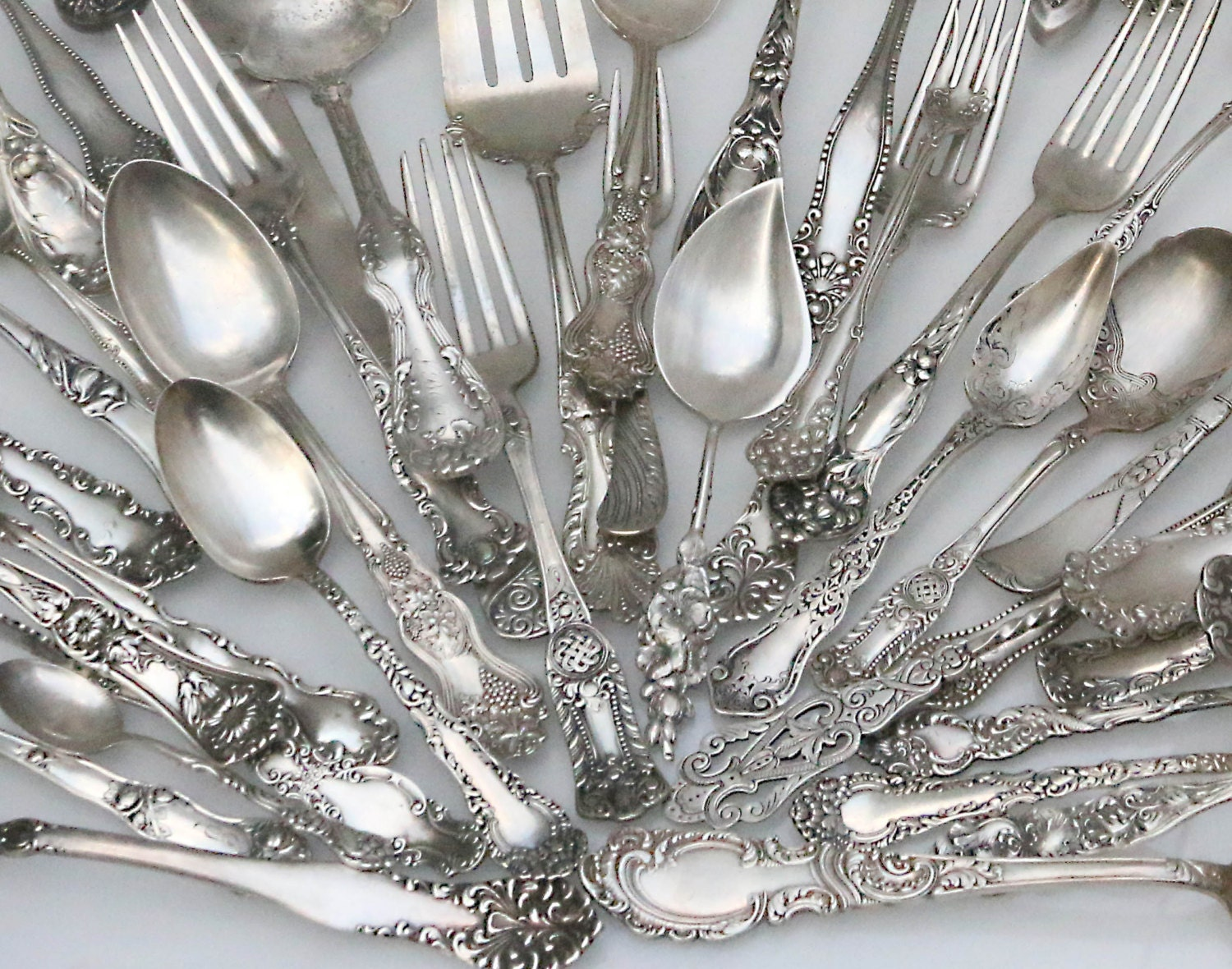 Reserved listing for 40 individual sets ornate unique Unique flatware sets