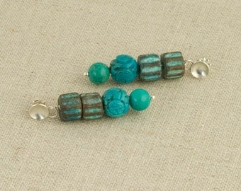 Turquoise Earrings Post Blue Green Carved Turquoise Sterling Southwestern Rustic Boho