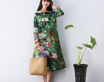 Casual Plus Size Loose Fitting Long Sleeved Cotton Long Dress Blouse- LYQ 028 Women Maxi dress(S-3XL)