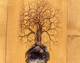 "13"", Wire Tree Of Life sculpture, Peace of Mind Trio Spirits, Amethyst Crystal Geode, Carnelian, yellow Citrine, green Peridot, blue Kyanite"
