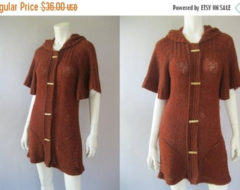 ON SALE Vintage 70s Hooded Sweater - Long Rust Cardigan
