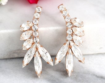 Bridal earrings, Bridal Swarovski earrings,Bridal Cluster Studs, Swarovski Bridal earrings, White Crystal Vintage Earrings, Gift for her