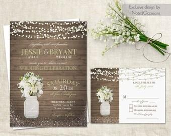 Rustic Wedding Invitation Suite Mason Jar Wedding Cala Lilly Greenery Bohemian Boho Floral Wedding Custom Printable DIY Invite and RSVP Card