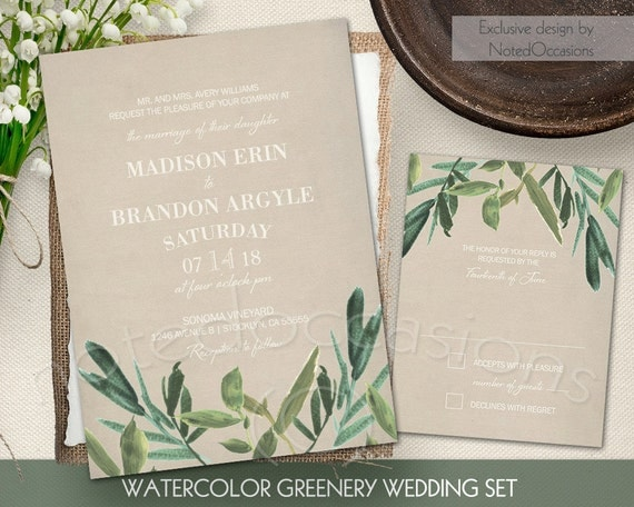 Digital Wedding Invitation Ideas: Greenery Wedding Invitation Set Rustic By NotedOccasions