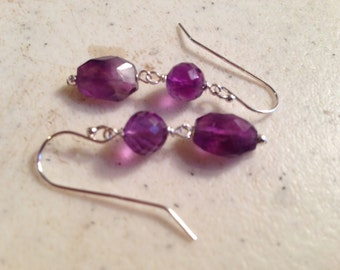 Amethyst Earrings - Purple Jewelry - Gemstone Jewellery - February Birthstone - Sterling Silver Jewelry
