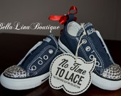 No Time To Lace Converse All Star Lows With Swarovski Crystal Toe - Size 6 toddler - No Lace (Velcro) - Ready To Ship!