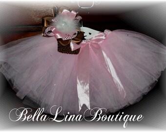 Three Piece Girls Ballet Tutu Set with Swarovski Crystals - You Get The Tutu BIG Bow and Headband - Size 3-7 yrs. (approx) - Ready to Ship!