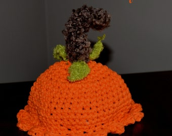 Photography Prop - Thanksgiving Fall Infant Crocheted Pumpkin Hat SALE Size 3-6 mos Ready to Ship TODAY!