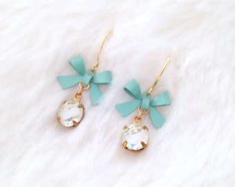Crystal & Aqua Bow Earrings