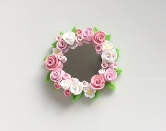 Dollhouse round mirror with pale pink roses for 1:12 scale dollhouse handmade from polymer clay