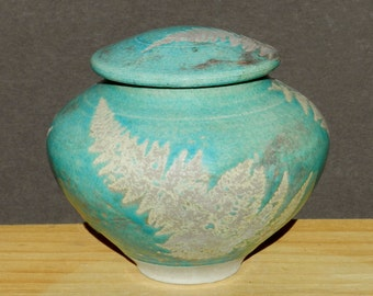 Turquoise Raku Urn, with Fern and copper detail for Home Decor & Storage