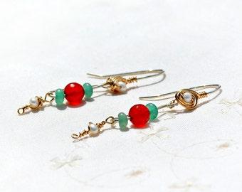 Carnelian Earrings. Carnelian Jewelry. Mixed Metal Earrings Silver Earrings Gold Filled Earrings Pearl Earrings+ Aventurine  Orange Earrings