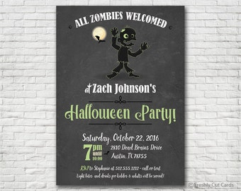 All Zombies Welcomed Halloween Party Invitation - Printable or Printed (w/ FREE Envelopes)