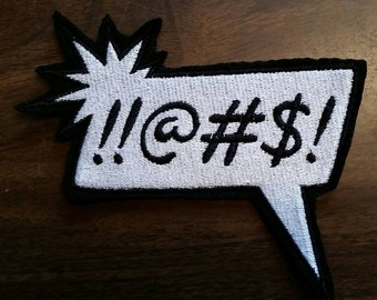 Thought bubble patch embroidered words