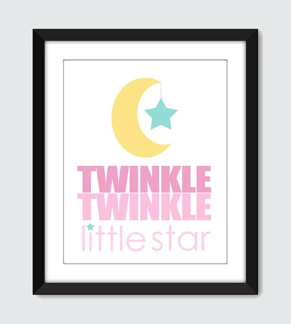 Twinkle Twinkle Little Star Wall Art. Moon and Star Wall Print. 8x10 Children Baby Nursery Rhyme Wall Print Poster