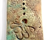 Octopus Soap Ceramic Soap Dish,pottery,clay,steampunk,patina,ocean,Atlanta,ocean,bubbles,soap,dish,home decor,bathroom decor