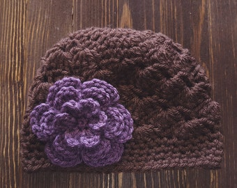 Girls Hat, Brown and Dusty Purple Girl Hat, Newborn Girl Hat, Crochet Baby Hat, Crochet Girls Hat, Baby Girl Hat, Baby Hat for Girls