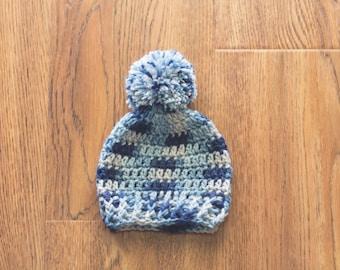 Newborn Boy Crochet Hat, Baby Boy Hat, Baby Boy Pom Pom Hat, Newborn Photography Prop, Boy Blue Hat
