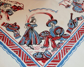 "Pretty 1950s Vintage Tablecloth Mexican Design Souvenir Red Blue 39 3/4"" x 41"""