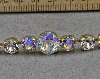 Swarovski Elements Light Azore Blue and Clear 8mm 47ss and 12mm Cushion Cut Crystal Stones in Gold Overlay  Bracelet 8 in
