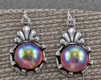 Silver Handmade Czech Glass Earrings Vintage Looking Drops With Iridescent Glass Beads Silver Hooks Dangle Earrings