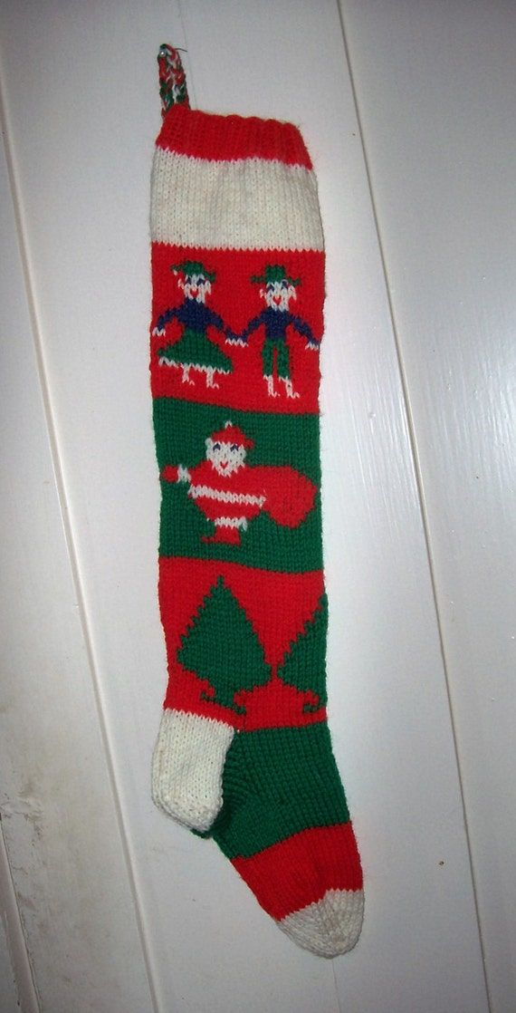 Hand Knit Wool Christmas Stocking Old Pattern Children By