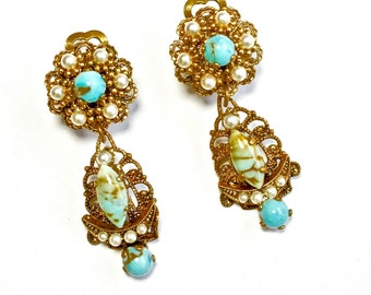 Victorian Moon Earrings Crescent Turquoise Glass Faux Seed Pearl DIVINE RARE