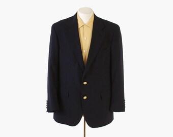 Vintage 80s RALPH LAUREN BLAZER / 1980s Men's Tailored Navy Wool Sport Coat Jacket M