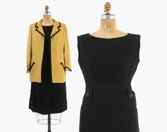 Vintage 60s DRESS Set / 1960s Designer Adele Simpson Mod Black Dress & Gold Jacket Set
