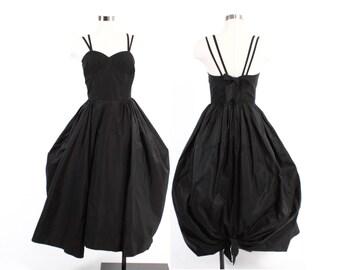 Vintage 50s Party DRESS / 1950s Black Taffeta & Chiffon Full Balloon Skirt Ball Gown XS