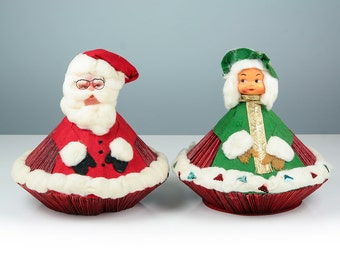 Vintage Santa Claus and Mrs Claus, Antique Handmade Christmas Decor, Santa Figurine, Christmas Decoration, Holiday Home Design, Origami