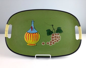 Vintage Grapes and a Bottle of Wine Serving Tray, 1950s Party Tray, Chianti Wine Serving Tray