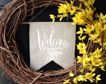 welcome sign front door decor wall decor wall hanging linen wreath flag wreath sign flag rustic banner pennant white chevron home decor