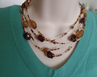Beautiful Vintage Beaded Necklace,  Fall colors necklace, vintage necklace