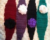 Crochet pattern for Girls Headband with flower  Winter Headband- Chunky Headband-Crochet Ear Warmer-Flower Headband