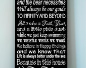 Beautiful DISNEY famous movie quotes wooden subway art 10x24 sign -In this house we let it go because hakuna matata and the....
