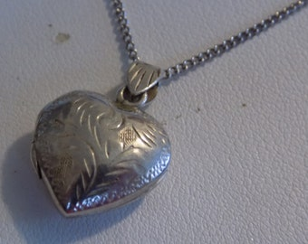 Vintage sterling silver etched sweet heart locket pendant and 925 chain, vintage jewelry