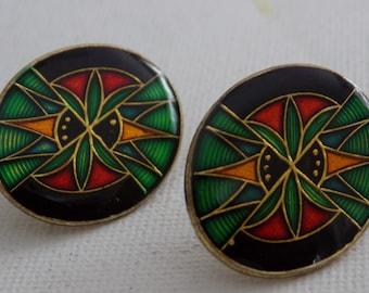 Vintage earrings, cloisonne enamel earrings, abstract earrings, retro earrings, stud earrings