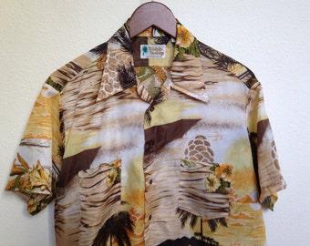 Vintage Waikiki Holiday Hawaiian shirt, 60s 70s Aloha shirt, brown orange yellow, retro 1960s 1970s, tiki luau, rare RN 26818, 48 chest size