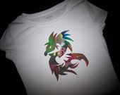 """Dragon Iron on Applique 7"""" Tall, In a Red and Green Batik Fabric - Iron Dragon Patch, Easy Craft for a shirt or Tote"""