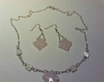 Pink squares on silver toned chain