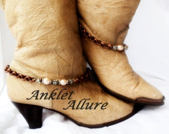 Elegant Understated Pink Pearl Boot Chains Pearl Copper Boot Jewelry Tall Knee Boots