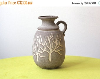 Summersale Vintage West German Pottery Handled Vase with White Stylized Trees