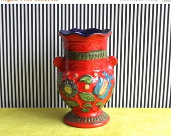 "SALE Vintage West German Pottery Handled Vase In Red and Deep Blue with the Floral Decor ""Napoli"" By BAY Keramik"