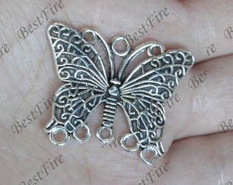 6 pcs of Antique Silver charming butterfly Connector pendant,pendant metal finding,butterfly findings bead,butterfly pendant beads findings