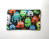 Big Cute Monsters on Black Fabric Zipper Pouch / Pencil Case / Make Up Bag / Gadget Sack