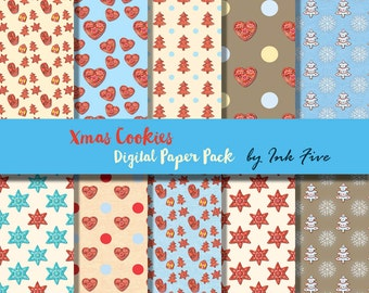 Digital paper pack XMAS COOKIES. Christmas scrapbooking paper. X-mas digital scrapbooking digital download for card making, invites, scraps.